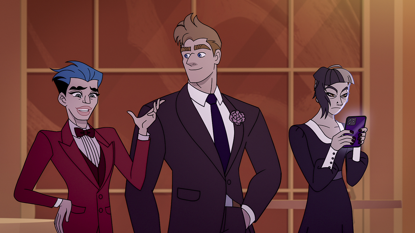 Q-Force: Matt Rogers as Twink, Sean Hayes as Mary, and Patti Harrison as Stat -- Image courtesy of Netflix